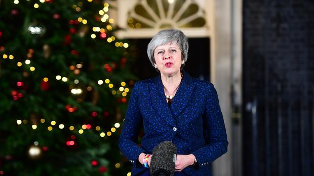 Prime Minister Theresa May makes a statement in 10 Downing Street, London, after she survived an attempt by Tory MPs to oust her with a vote of no confidence – (Victoria Jones/PA)