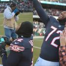 Charles Leno Jr, of the Chicago Bears, proposes to his girlfriend on the pitch (@ChicagoBears/Twitter)