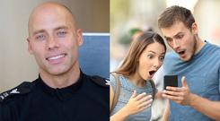 Sergeant Ian Birkin of Nottinghamshire Police and a stock image of a shocked couple (Nottinghamshire Police and AntonioGuillem/Getty Images)