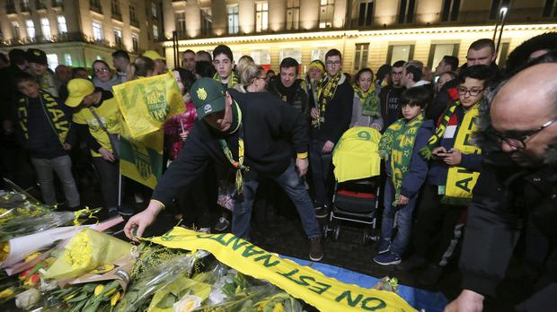 Supporters gather to pay tribute to Argentinian soccer player Emiliano Sala, in Nantes, western France (David Vincent/AP)