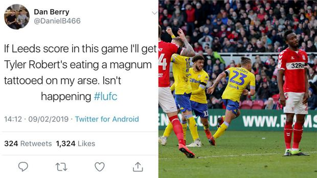 A screen grab of Daniel's tweet before Kalvin Phillips scored a dramatic equaliser for Leeds against Middlesbrough – (@DanielB466/Twitter and Richard Sellers/PA)