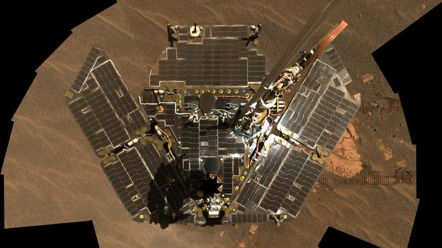 Self-portrait dated 18/2/2005 of Opportunity, Nasa's longest-running rover on Mars – which has been pronounced dead 15 years after it landed on the red planet (Nasa/JPL-Caltech/Cornell/PA)