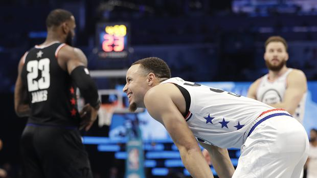 5e55671644bc Steph Curry s bounce pass alley-oop leaves viewers in awe at NBA All ...
