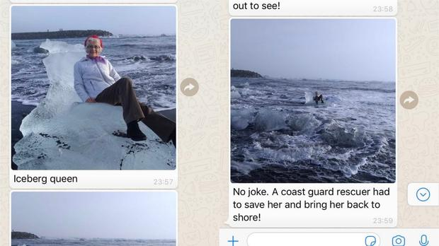 Screen grabs from a Whatsapp conversation showing pictures of a family member sat on some ice in the sea (Pictures courtesy of Catherine Streng)
