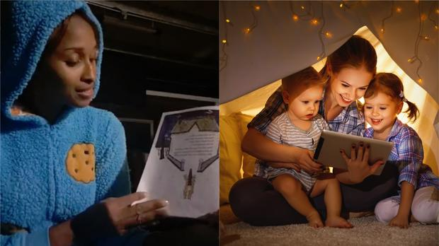 Dr George reads a story to schoolchildren on Facebook, and a stock image of two children watching a tablet in a tent (Belinda George and evgenyatamanenko/Getty Images)