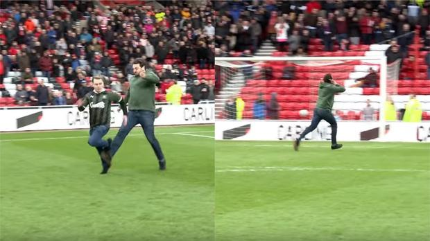 Two Plymouth Argyle fans compete in the half-time entertainment during a Championship game at Sunderland (Pictures courtesy of Sunderland AFC)