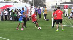 Didier Drogba and Cafu participate in a Unified Sports Experience in Abu Dhabi (PA)