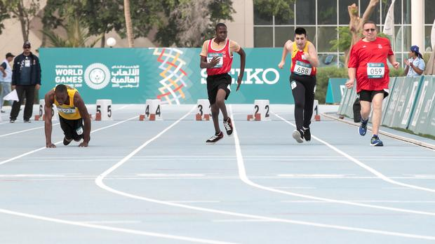 Jamaica's Kirk Wint competes in the 50m sprint at the 2019 Special Olympics World Games (Special Olympics World Games Abu Dhabi 2019/PA)
