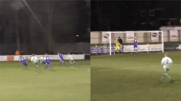 A pitch-length hoof in Northern League Division One ends up becoming one of the assists of the season (Images courtesy of Dunston UTS FC)