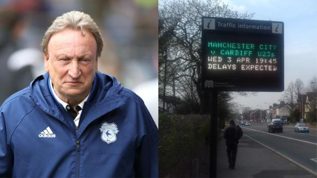Cardiff City manager Neil Warnock and a sign in Stockport (Nick Potts/PA and Mike Whalley)