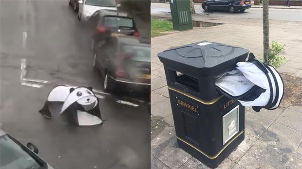 A pop-up panda tent that was seen blown down a street in Roath, Cardiff (Pictures courtesy of Chris Lloyd/whatchrisdoes and Alastair Clarke)