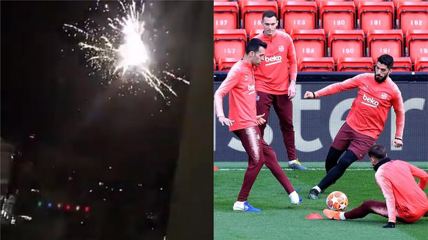 Fireworks going off outside the Hilton hotel in Liverpool, and Barcelona players training at Anfield (@Izziee_Mariex and Peter Byrne/PA)