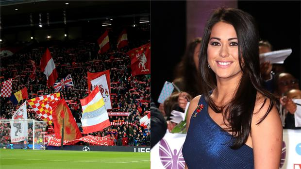 Liverpool fans at Anfield and hockey player and presenter Sam Quek (Peter Byrne/Steve Parsons/PA)