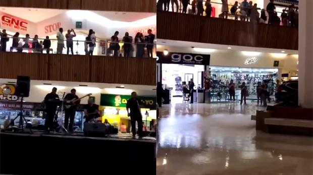 A band plays the Titanic theme music as the mall they are in floods in Mexico (Images courtesy of @EBakuTheGreat)