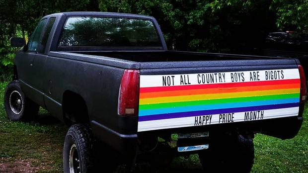 Cody Barlow made a rainbow sticker for the back of his truck to show support during Pride month (Cody Barlow/PA)