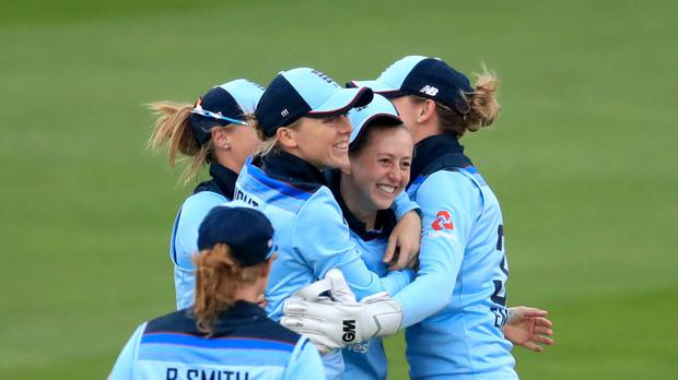 England's Fran Wilson celebrates taking the wicket of West Indies' Hayley Matthews during the Women's One Day International match at The Cloudfm County Ground, Chelmsford (Adam Davy/PA)