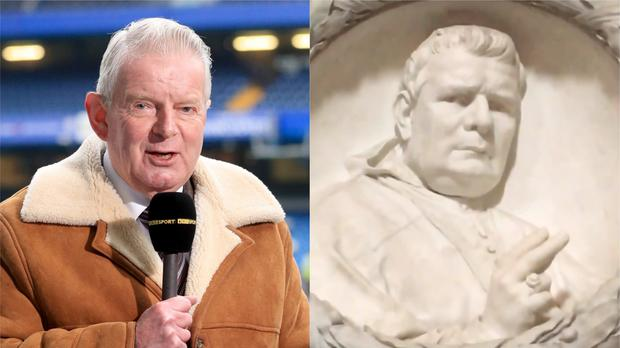 Former BBC football commentator John Motson and a bust in Italy (Adam Davy/PA and Mike Williams)