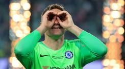 Chelsea's Rob Green during post match celebrations after the 2019 UEFA Europa League final (Bradley Collyer/PA)