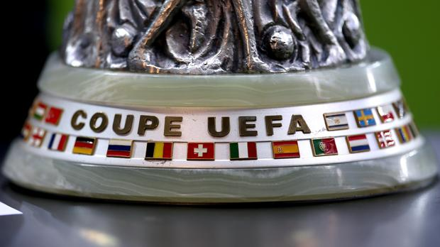 A detailed view of the Europa League trophy on display (Steven Paston/PA)