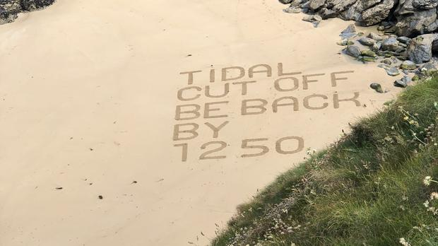 Tidal cut off signage at Bedruthan Steps near Newquay (David Revell)