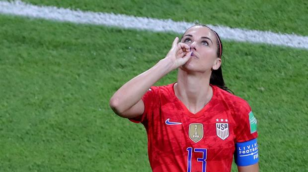 USA's Alex Morgan celebrates scoring her side's second goal of the game during the FIFA Women's World Cup Semi Final match at the Stade de Lyon (Richard Sellers/PA)