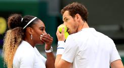 Andy Murray and Serena Williams during their mixed doubles match at Wimbledon 2019 (Mike Egerton/PA)