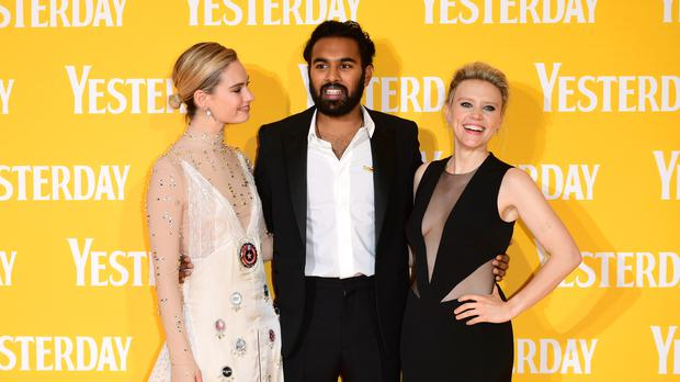 Lily James, left, Himesh Patel and Kate McKinnon attending the Yesterday UK premiere in London (Ian West/PA)