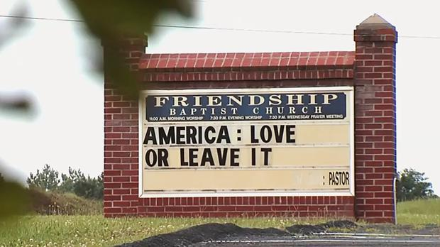 The sign outside the Friendship Baptist Church (Dominick Sarazen/AP)
