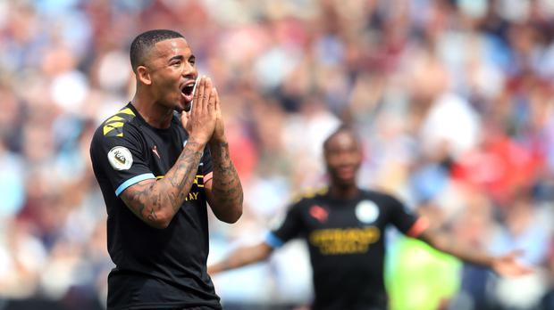Manchester City striker Gabriel Jesus reacts as a VAR check results in Man City's third goal against West Ham being disallowed for offside.