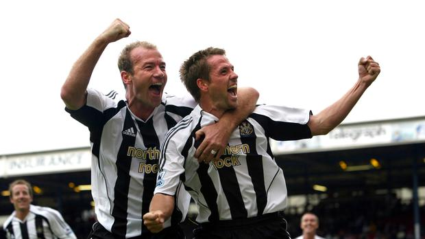 Michael Owen (right) celebrates with Alan Shearer during their time together at Newcastle (David Davies/PA)