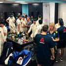 Staff and players from the England and Australia Ashes squads chat after the final game of the 2019 series (Danny Reuben/Twitter)
