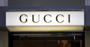 The sign above the door to the Gucci store on Bond Street, London.