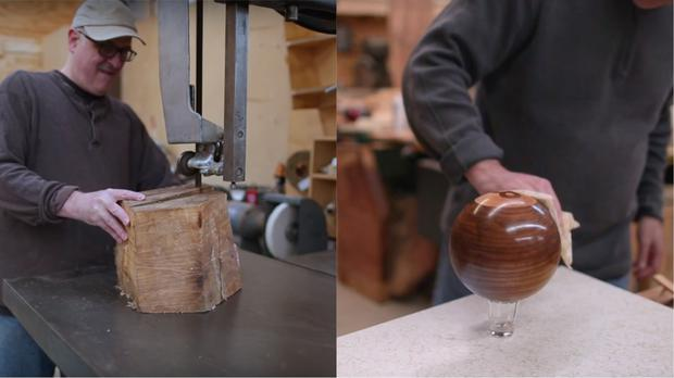 A log being turned into an eight-ball