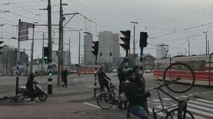 A cyclist loses control of their bike in the Netherlands