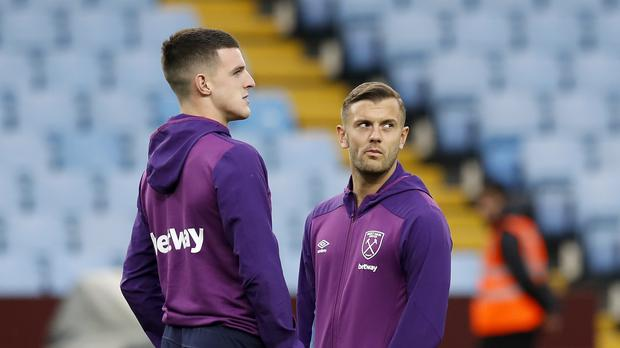 Declan Rice and Jack Wilshere (Martin Rickett/PA)