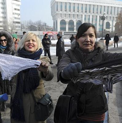 Women during a protest against the ban of lace underwear in Almaty, Kazakhstan (AP)