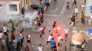 Fans of England and Russia clashed on the streets of Marseille last year