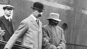 Dr Hawley Crippen (right) escorted by Inspector Walter Dew, after his arrest for the murder of his wife