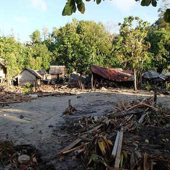The scene at Venga village after the tsunami struck the Solomon Islands (AP/World Vision)