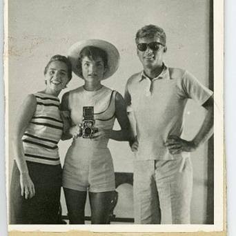 A photograph featuring John F Kennedy was part of a collection sold at auction (AP/John McInnis Auctioneers)