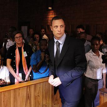 Pistorius in court at his bail hearing (AP)