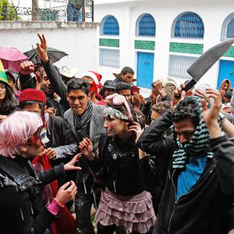 Tunisian students performing a Harlem Shake (AP)