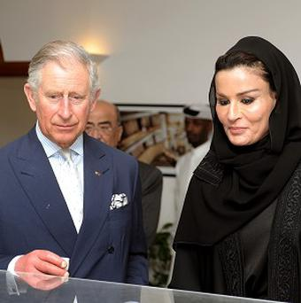 The Prince of Wales with Sheikha Mozah, leader of the Qatar Foundation, during a meeting at the foundation's HQ in Doha