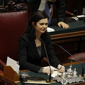 Laura Boldrini, a former spokeswoman for the UN High Commissioner for Refugees, is the new leader of the Italian lower house (AP)