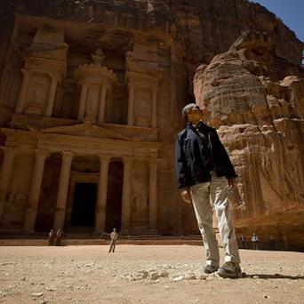 US President Barack Obama stops to look at the Treasury during his tour of the ancient city of Petra (AP)