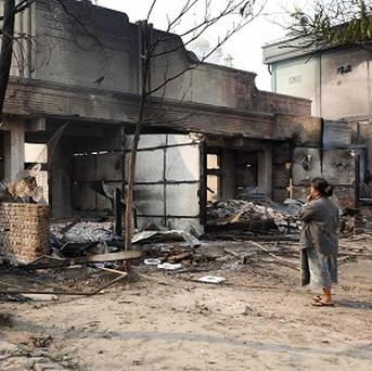 Buildings have been destroyed amid ethnic unrest between Buddhists and Muslims in Meikhtila, Burma (AP)