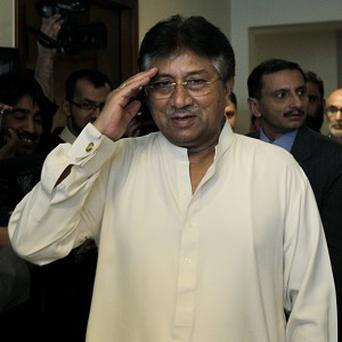 Former Pakistani president Pervez Musharraf in his Dubai office before leaving for Pakistan (AP)