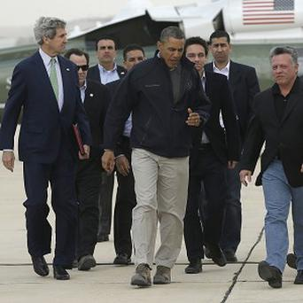 John Kerry, far left, visited Jordan with US President Barack Obama, centre, before his trip to Iraq (AP)