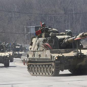 South Korean soldiers patrol the border with the North (AP