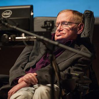 Stephen Hawking gives a talk to workers at Cedars-Sinai Medical Centre in Los Angele (AP/Cedars-Sinai, Eric Reed)